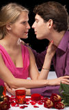 Romantic dinner holding and kissing Royalty Free Stock Photo