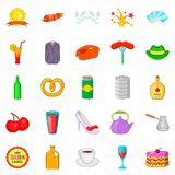 Romantic dinner icons set, cartoon style. Romantic dinner icons set. Cartoon set of 25 romantic dinner vector icons for web isolated on white background Royalty Free Stock Photo
