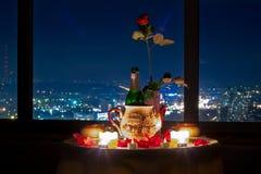 Romantic dinner valentines day. Romantic dinner night city kiev Royalty Free Stock Images