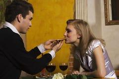 Romantic dinner in pizzeria stock photo