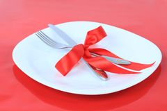 Romantic Dinner on red background Royalty Free Stock Photography