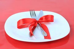 Romantic Dinner on red background Stock Photography