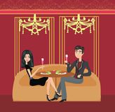 Romantic dinner in a restaurant Royalty Free Stock Photos
