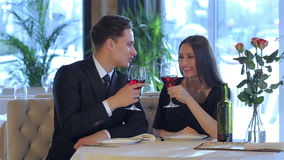 Romantic dinner in the restaurant stock footage