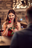 Romantic dinner with rouse royalty free stock images