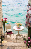 Romantic dinner by the sea.  stock image