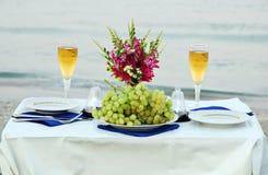 Romantic dinner on the sea beach Royalty Free Stock Photo