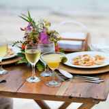 Romantic dinner served for two Stock Photography