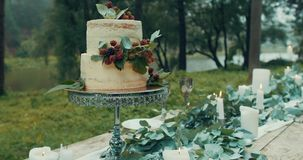 Romantic dinner served for two. Wedding composition: two-tiered cake with berries at the table decorated with candles stock video footage