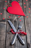 Romantic dinner set on wooden background Royalty Free Stock Photos