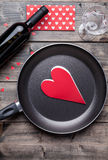Romantic dinner set on wooden background Royalty Free Stock Photography