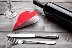 Romantic dinner set on wooden background Royalty Free Stock Image