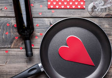 Romantic dinner set on wooden background Stock Image