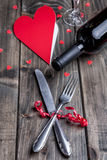 Romantic dinner set on wooden background Royalty Free Stock Images