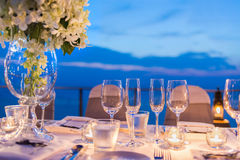 Romantic dinner setup Royalty Free Stock Photos