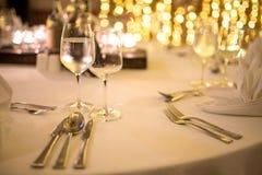 Romantic dinner setup. Royalty Free Stock Image