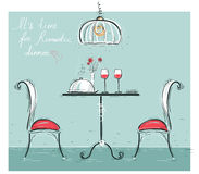 Romantic dinner sketchy color illustration  on white. Royalty Free Stock Photo