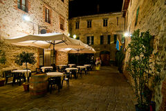 Romantic dinner in small Italian restaurant Royalty Free Stock Photo