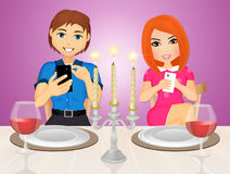 Romantic dinner with smartphone. Illustration of romantic dinner with smartphone Stock Photography