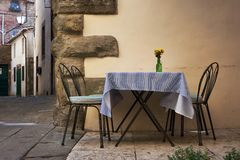 Romantic dinner in the street stock photos