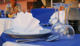 Romantic dinner table. Close shot of a romantic dinner table stock image
