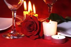 Romantic Dinner Table Arrangement. Romantic Valentine Dinner or Supper Table Arrangement Royalty Free Stock Images