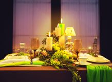 Romantic dinner, table with food decoration Royalty Free Stock Photo