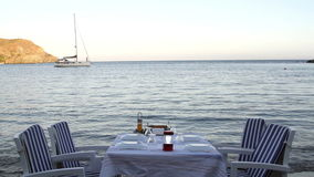 Romantic dinner table near the sea stock video