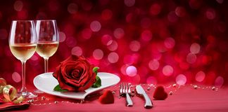Romantic Dinner - Table Setting For Valentine's Day royalty free stock photo