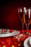 Romantic Dinner Table and wedding rings Stock Images