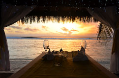 Romantic dinner for two. On the beach of Pacific Island Royalty Free Stock Images