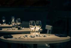 Romantic Dinner for two at a luxury restaurant royalty free stock photo