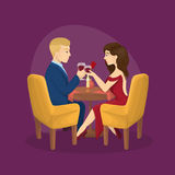 Romantic dinner for two. Man and woman sit at the table with wine Stock Photo