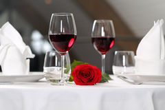 Romantic dinner. For two person and rose Stock Photography