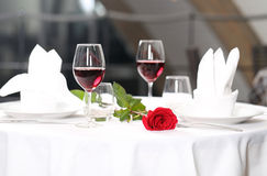 Romantic dinner. For two person and rose Royalty Free Stock Photos