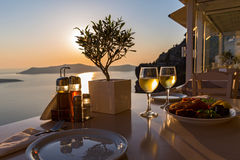 Romantic dinner for two at sunset Stock Photos