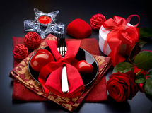 Romantic Dinner. Valentines Day. Romantic Dinner. Place setting for Valentines Day Stock Photo