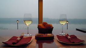 Romantic dinner with view Royalty Free Stock Image