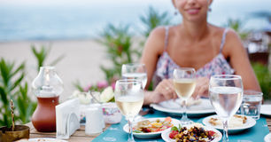 Romantic dinner with white wine. Royalty Free Stock Photography