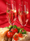 Romantic dinner with wine Royalty Free Stock Photo