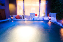 Romantic Dinner With Jacuzzi Royalty Free Stock Photography