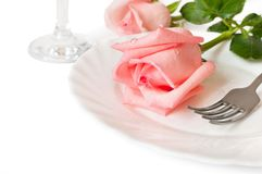 A romantic dinner withl roses Royalty Free Stock Photos