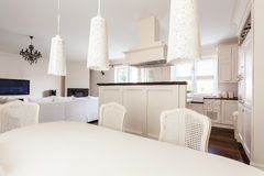 Romantic dinning room and kitchen Stock Photo