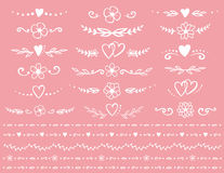 Romantic dividers set. Set of romantic dividers with flowers and leaves on pink background Stock Images