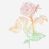 Romantic doodle background with rose and butterfly Stock Photo