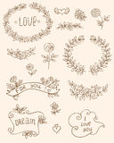 Romantic doodle elements Royalty Free Stock Image