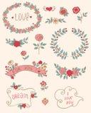 Romantic doodle elements Stock Photo