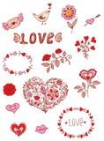 Romantic doodle elements Royalty Free Stock Photo