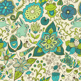 Romantic doodle floral texture. Copy that square to the side and Stock Photography