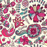 Romantic doodle floral texture. Copy that square to the side and Stock Photos
